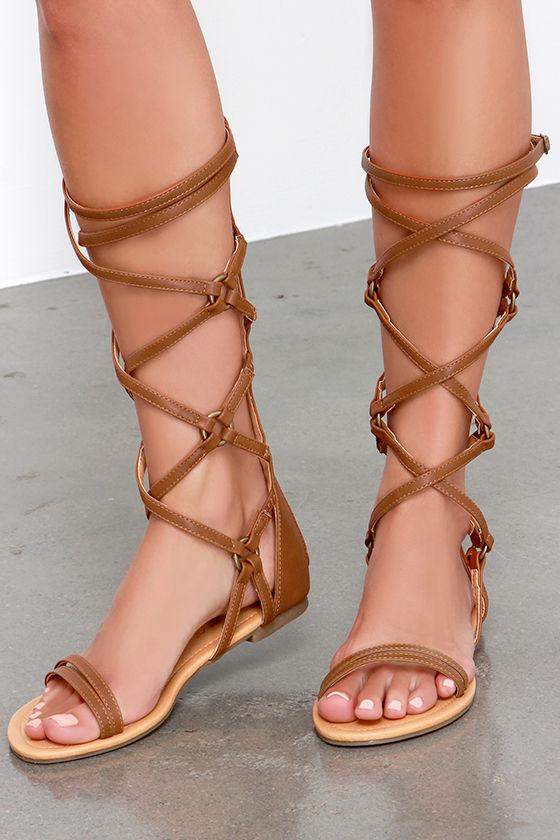d886d3e4117f Cute Tan Sandals - Tall Gladiator Sandals - Brown Sandals -  32.00