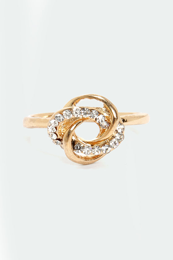 Gone Knots Gold Rhinestone Ring at Lulus.com!