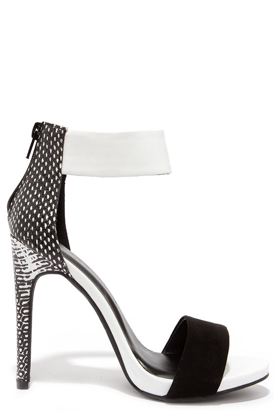 Cute Black and White Heels - Ankle Strap Heels - $28.00