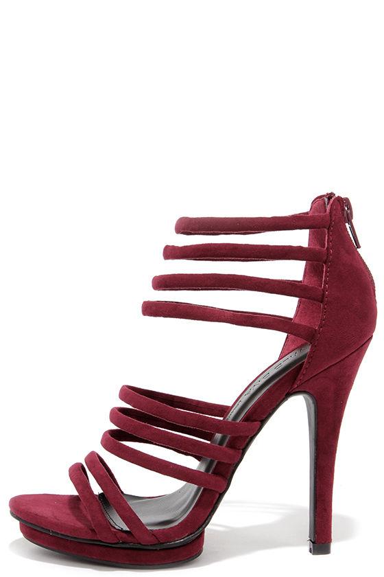 Cute Burgundy Heels Caged Heels Dress Sandals 30 00