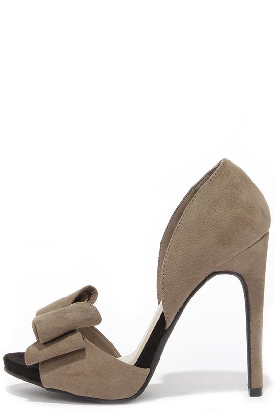 Cute Taupe Heels - Peep-Toe Heels - Bow Heels -  28.00
