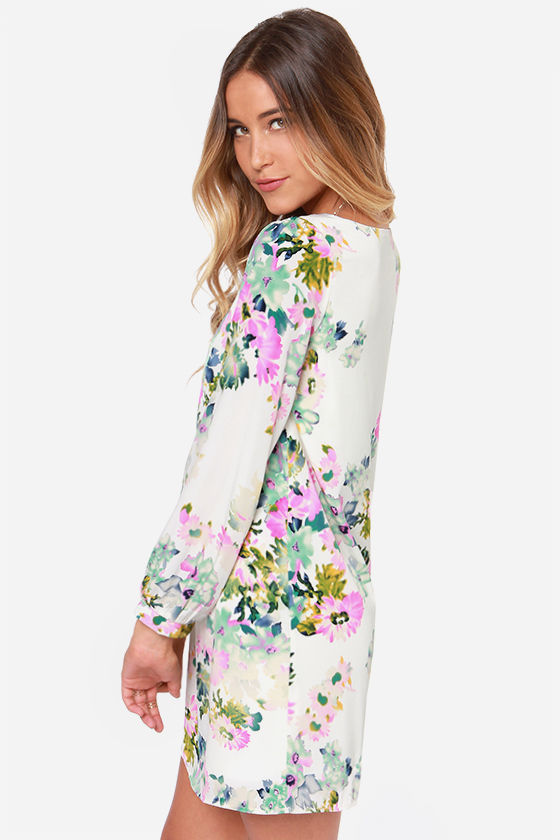 LULUS Exclusive Hydrangea Hopes Ivory Floral Print Dress at Lulus.com!