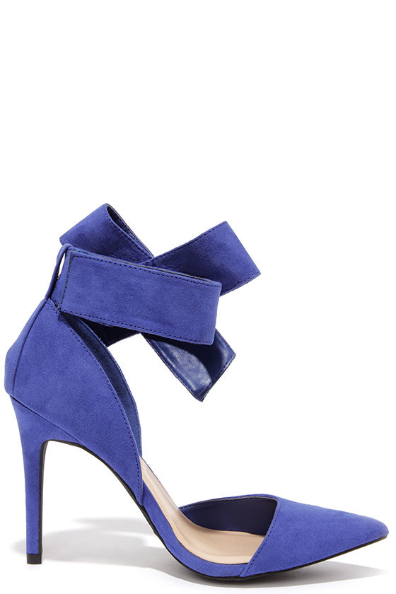 Cute Blue Pumps - Bow Heels - Bow Pumps - Pointed Pumps - $28.00