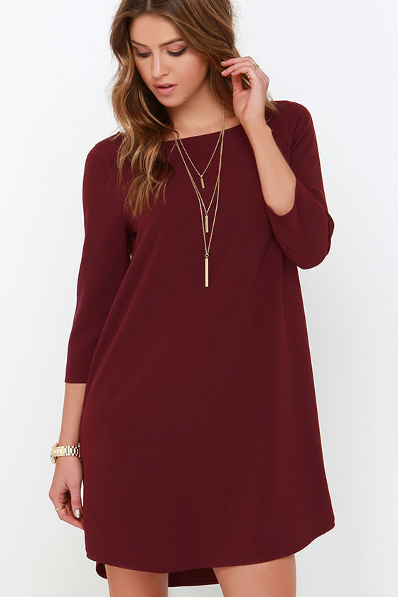 a5242bbcd7de BB Dakota Devin Dress - Burgundy Dress - Shift Dress -  79.00