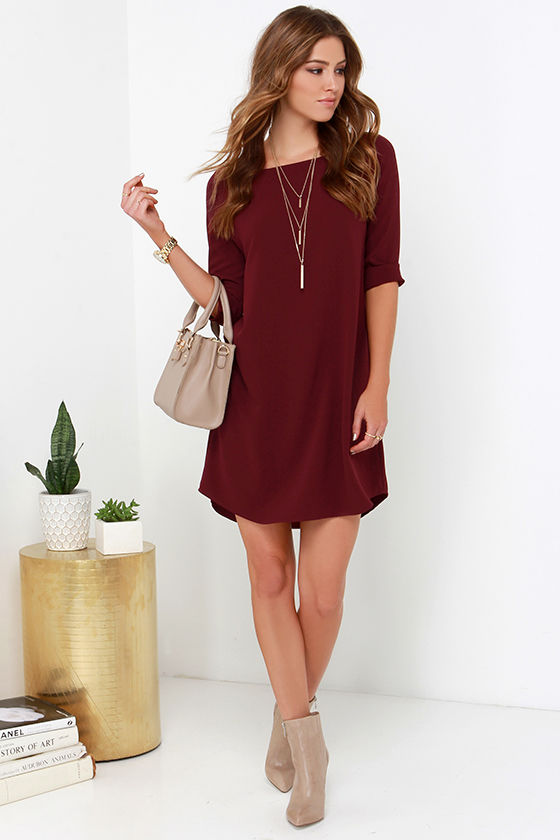 Bb dakota devin dress burgundy dress shift dress for Shift dress for a wedding