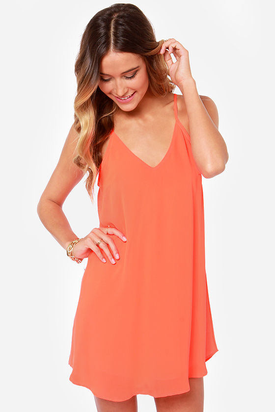 Sexy Neon Orange Dress Sleeveless Dress T Strap Dress 3700