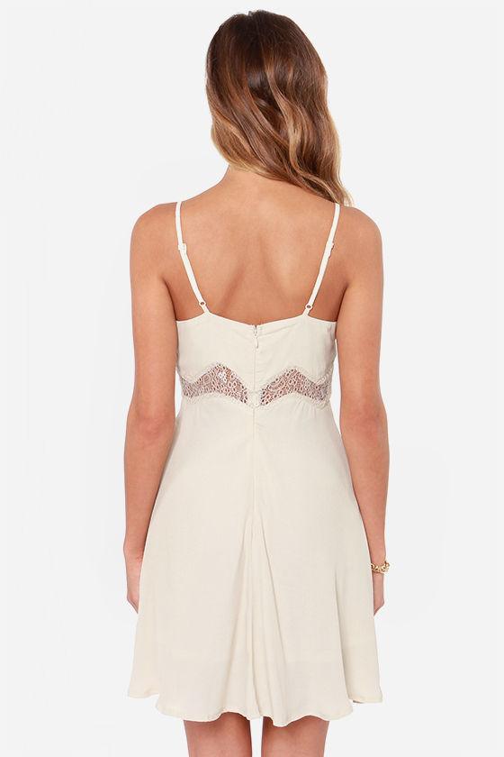 Midriff Management Lace Cream Dress at Lulus.com!
