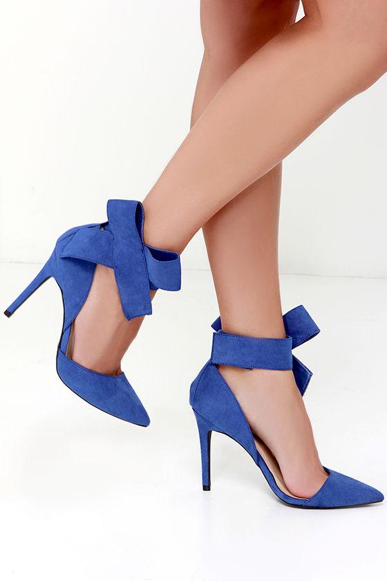 d88637e42d Cute Blue Pumps - Bow Heels - Bow Pumps - Pointed Pumps - $28.00