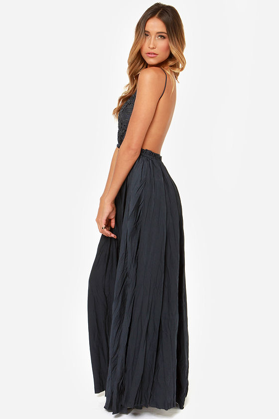 Snowy Meadow Crocheted Navy Blue Maxi Dress at Lulus.com!