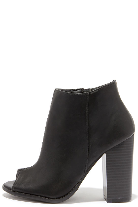 b96da39958f Cute Black Booties - Peep-Toe Booties - Ankle Boots - $29.00