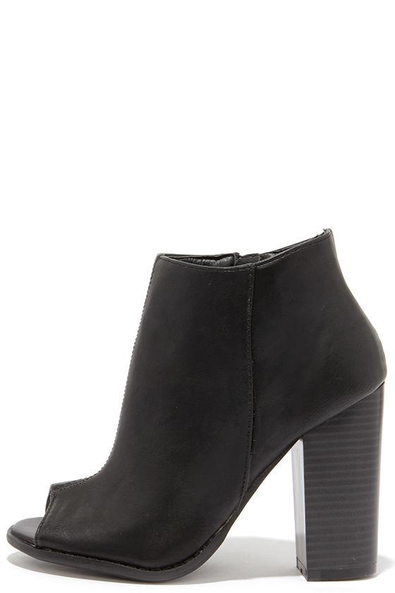 Cute Black Booties Peep Toe Booties Ankle Boots 29 00