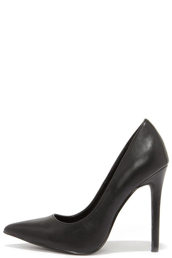 99968a54bcc2 Pretty Black Pumps - Pointed Pumps - Black Heels -  34.00