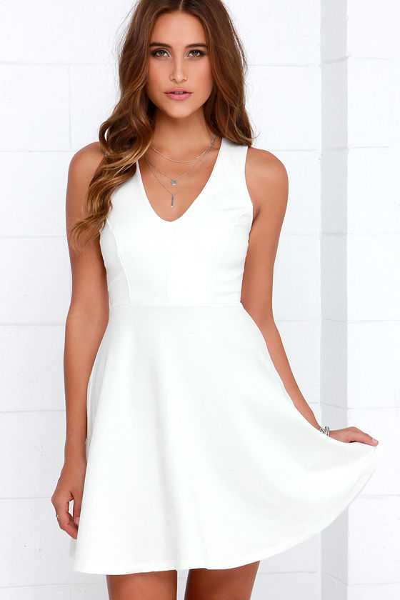 Queen Sweep Ivory Dress at Lulus.com!
