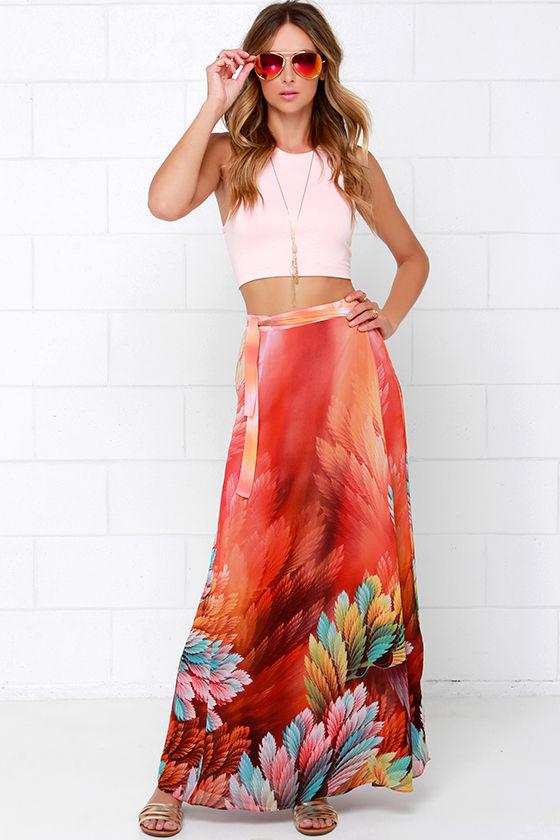 Orange Skirt - Print Skirt - Wrap Skirt - Maxi Skirt - $63.00