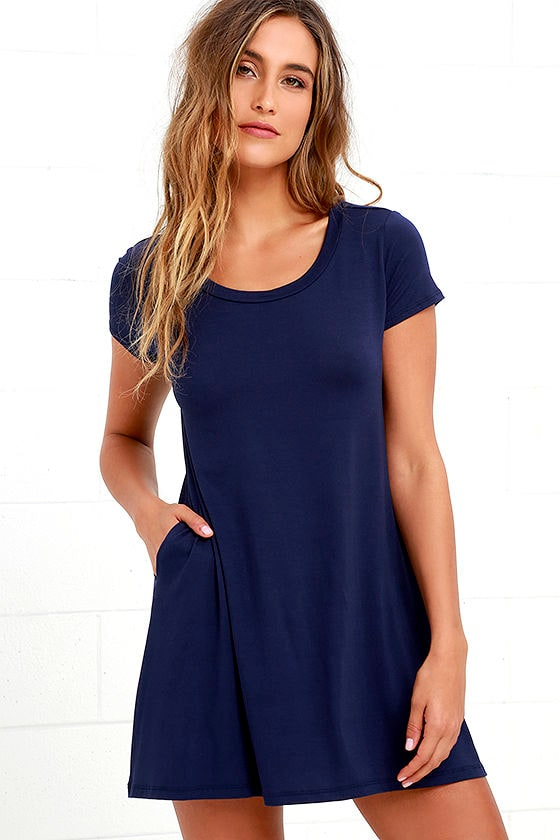 Navy Blue Dress - Shift Dress - Tee Dress - Swing Dress - $31.00