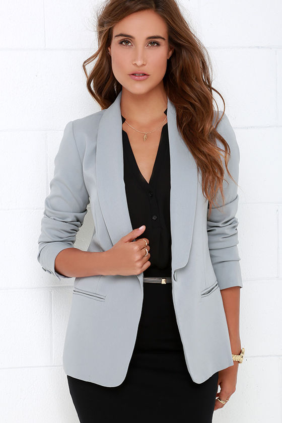 Chic Grey Blazer Office Blazer Tuxedo Blazer 91 00