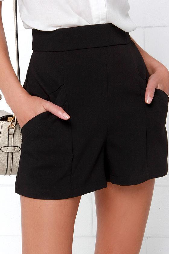 6600596bd68 BB Dakota Bryan Shorts - Black Shorts - High-Waisted Shorts -  63.00