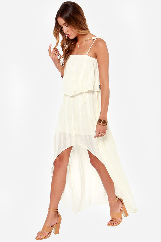 RVCA Luck Now Cream High-Low Dress at Lulus.com!