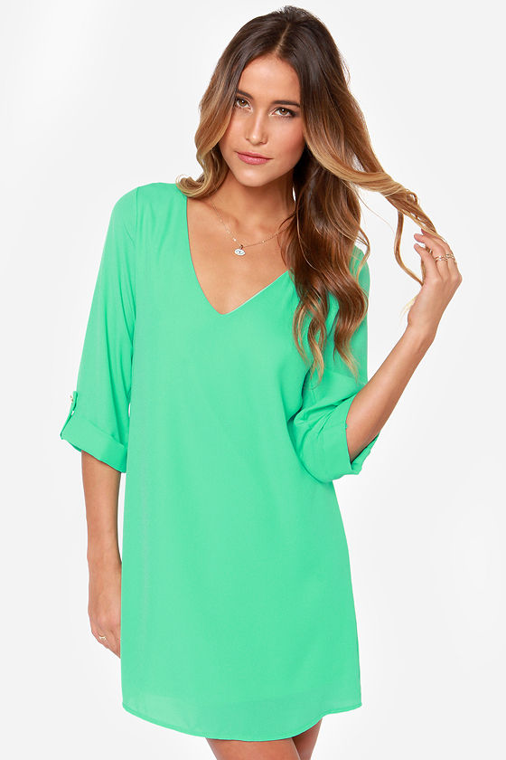 Cute Mint Green Dress - Shift Dress - Long Sleeve Dress - $44.00