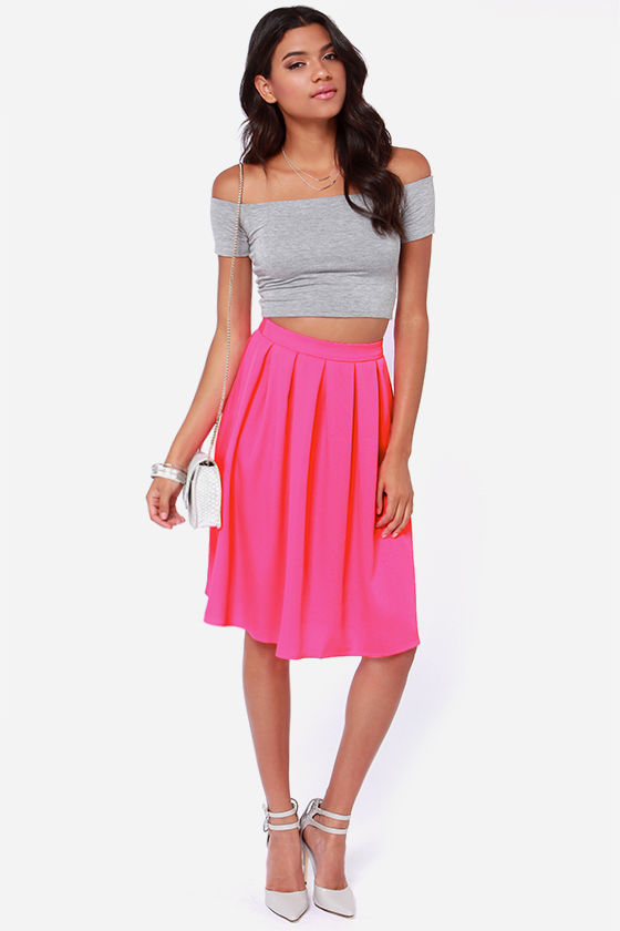 Hot Pink Midi Skirt | Jill Dress