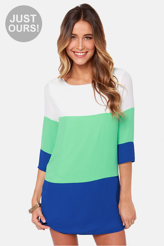 LULUS Exclusive Pick Shift Mint and Blue Dress at Lulus.com!