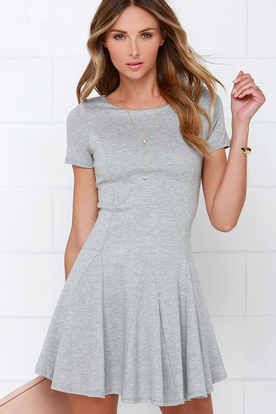 Heather Grey Dress - Skater Dress - Short-Sleeve Dress - $42.00