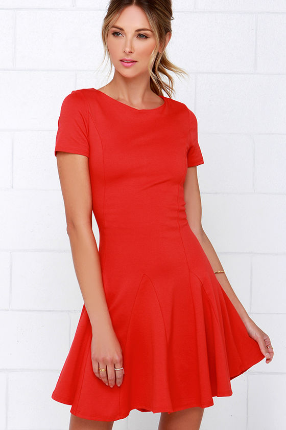 Coral Red Dress - Skater Dress - Short-Sleeve Dress - $42.00