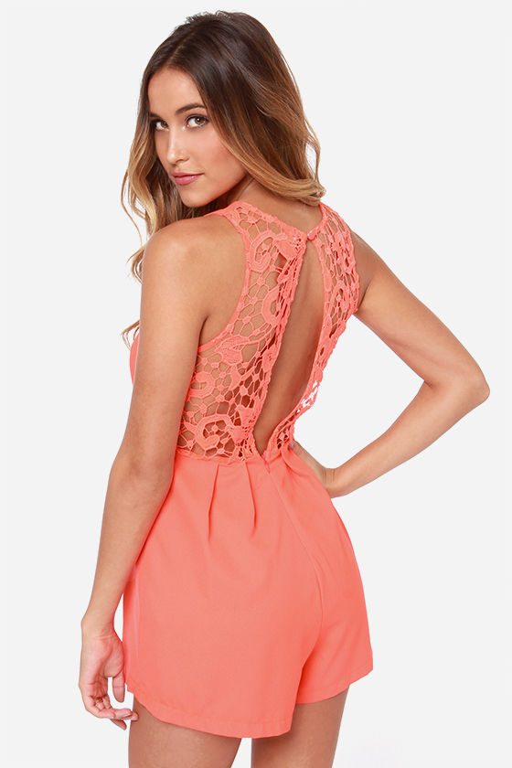 451e76a3847c Cute Neon Orange Romper - Lace Romper - Sleeveless Romper -  43.00