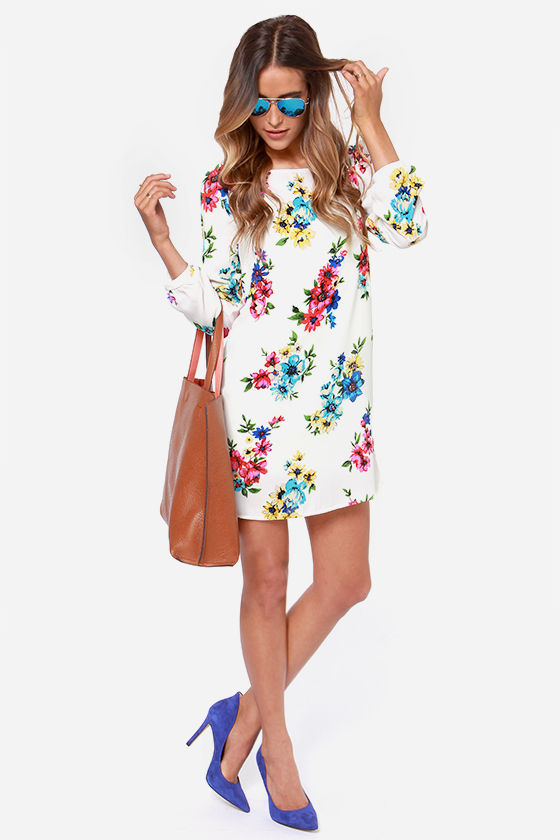 Herbaceous Babe Ivory Floral Print Shift Dress at Lulus.com!