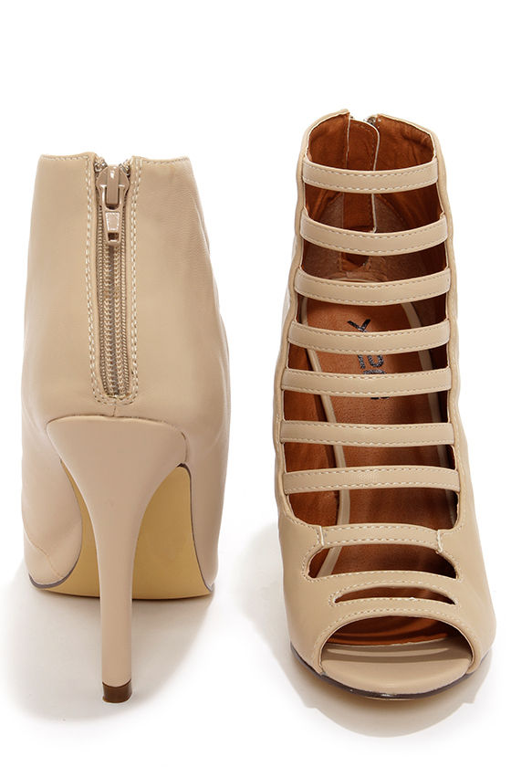 Cute Nude Booties - Caged Heels - High Heel Booties - $38.00