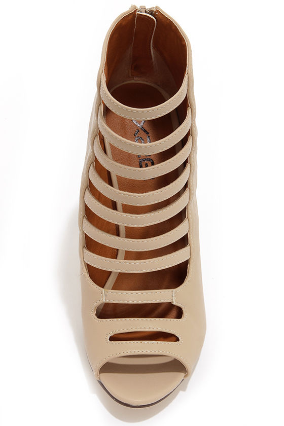 Blair 1 Nude Caged High Heel Booties at Lulus.com!