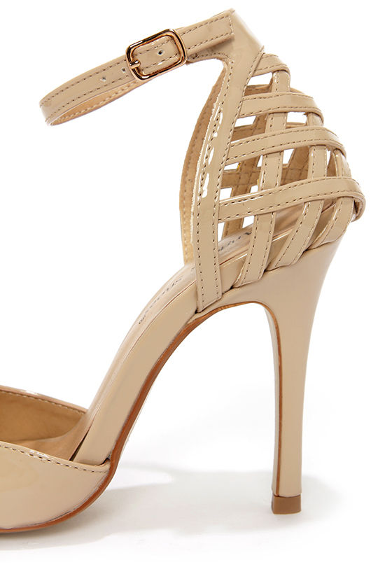 Moon Nude Patent Lattice Heel Pointed Pumps at Lulus.com!