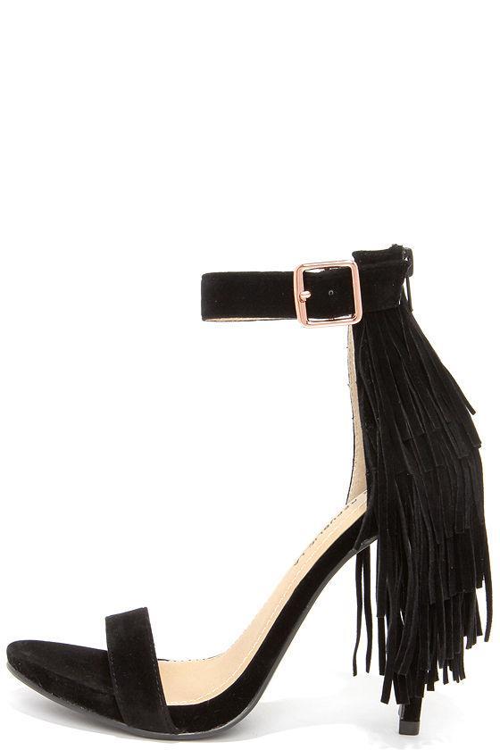 fa95e881cd6 Fringe Benefit Black Fringe Heels