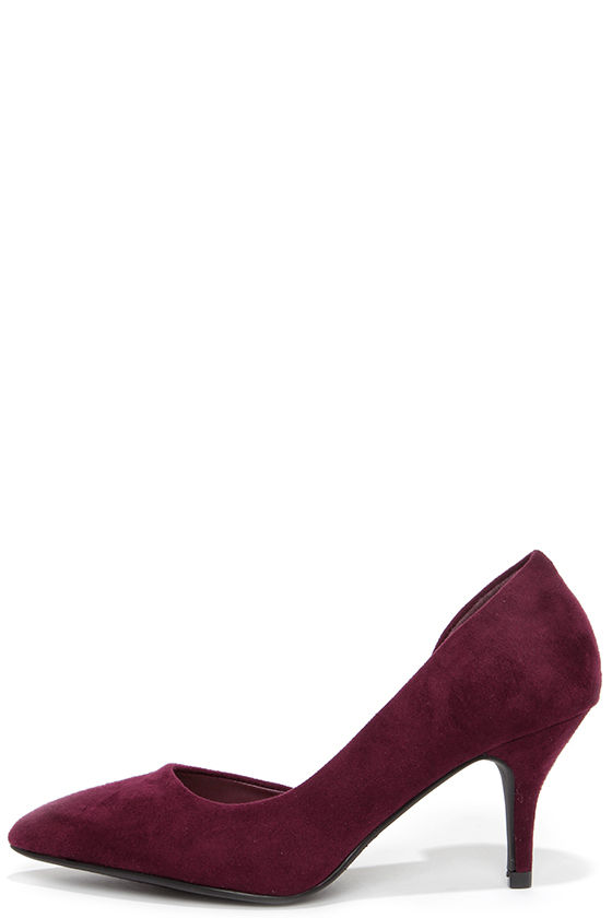 960a47471b7 Quite an Impression Vino Burgundy Suede D'Orsay Pumps