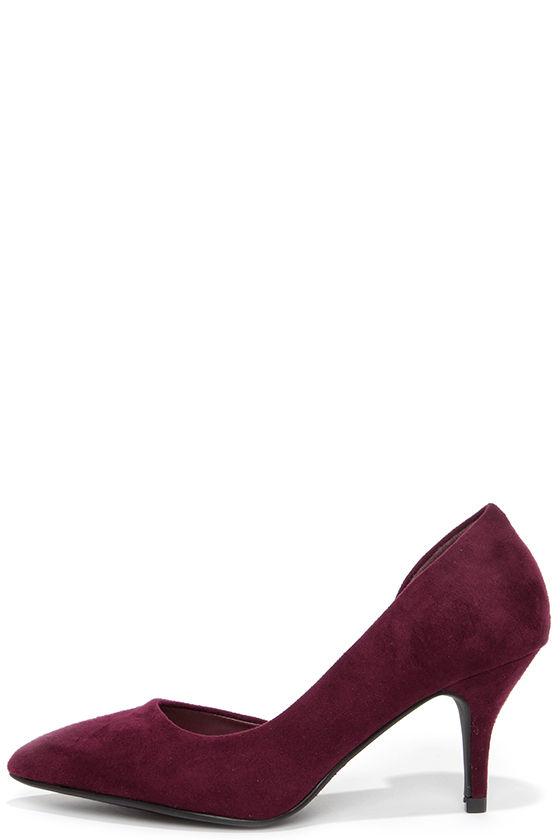 Burgundy Heel - D'Orsay Pumps - Kitten Heels - $25.00