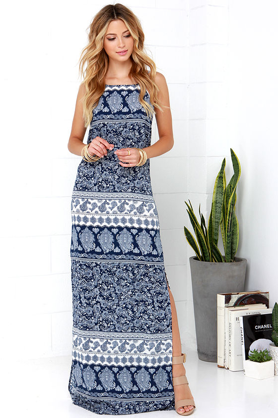 Boho Maxi Dress - Navy Blue Maxi Dress - Print Maxi Dress - $54.00