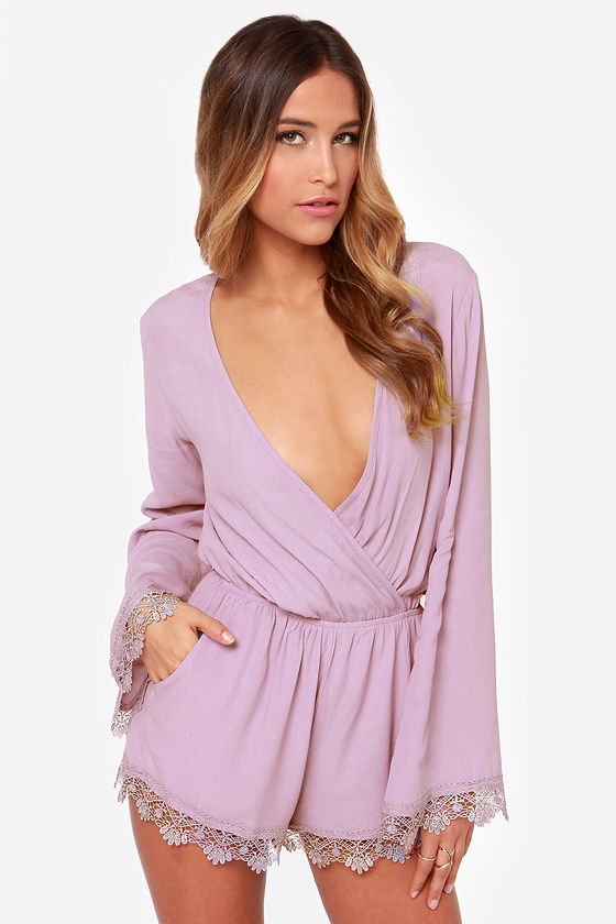 fa6b8ab91225 Cute Lavender Romper - Long Sleeve Romper -  61.00