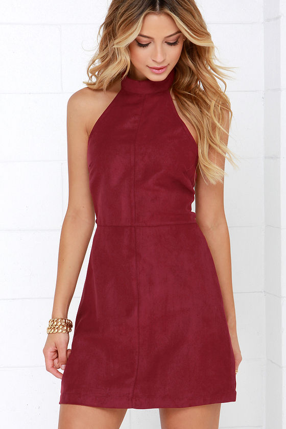 Wine Red Dress - Halter Dress - A-line Dress - $48.00