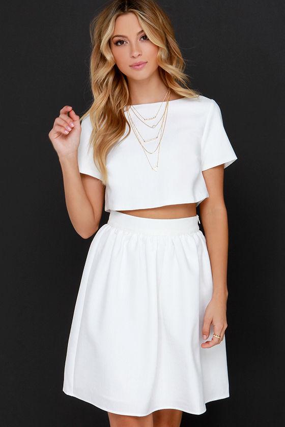 Darling TwoPiece Dress Ivory Dress Midi Dress 7600