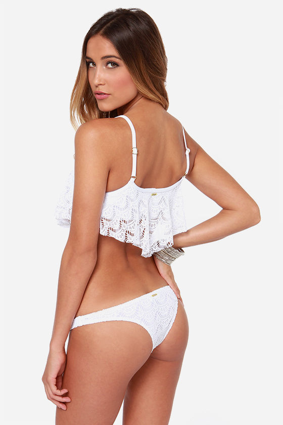 Roxy Flutter White Lace Bikini at Lulus.com!