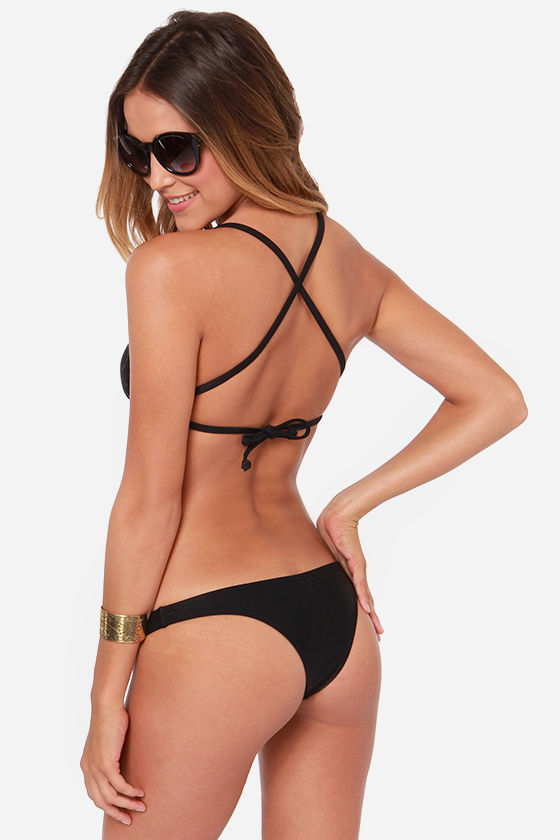 Roxy Criss Cross Surfer Black Bikini at Lulus.com!
