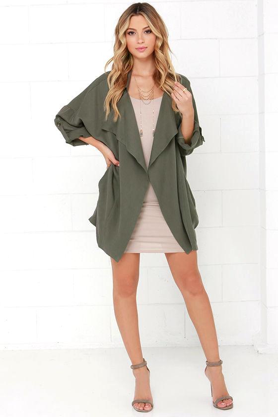 Lucky Break Olive Oversized Jacket 2