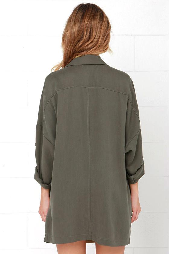 Lucky Break Olive Oversized Jacket 5