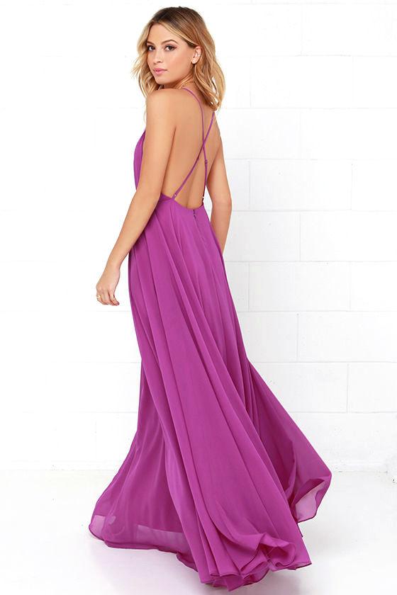 Beautiful Purple Dress - Maxi Dress - Backless Maxi Dress - $64.00