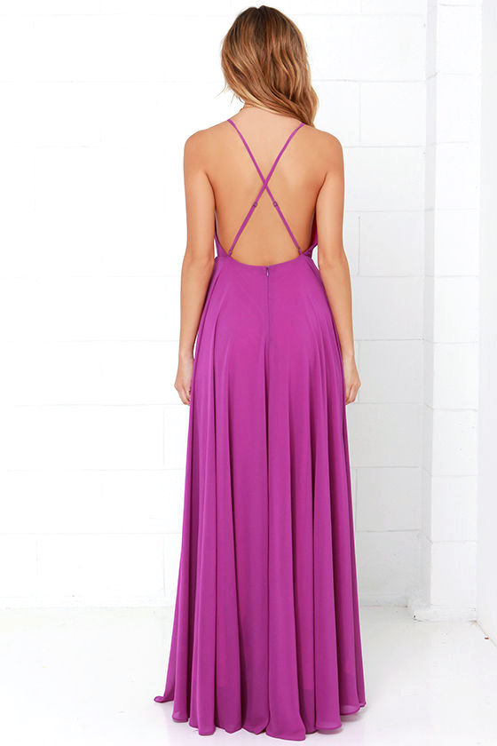 Beautiful Magenta Dress - Maxi Dress - Backless Maxi Dress - $64.00