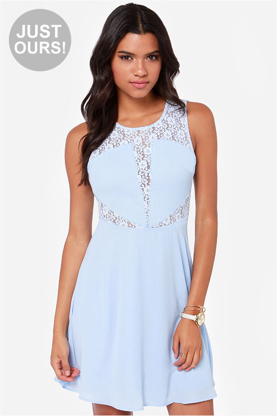 Cute Light Blue Dress - Lace Dress - Skater Dress - $49.00