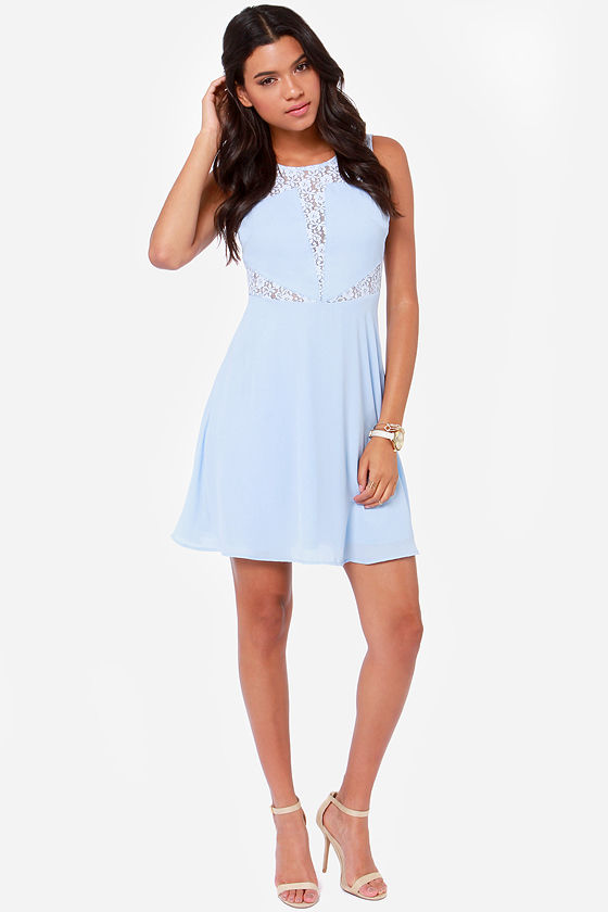 LULUS Exclusive Don't Toy With Me Light Blue Lace Dress at Lulus.com!