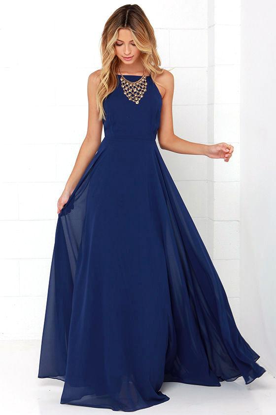Beautiful Navy Blue Dress - Maxi Dress - Backless Maxi Dress - $64.00