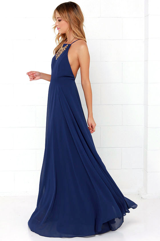 Beautiful Navy Blue Dress Maxi Dress Backless Maxi