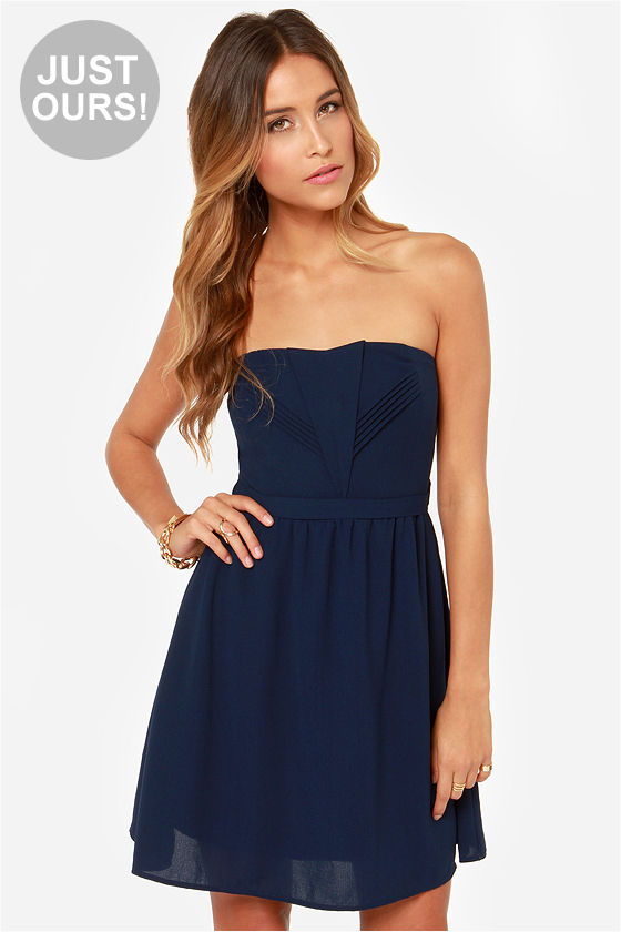 Pretty Navy Blue Dress - Strapless Dress - Darted Dress - $45.00